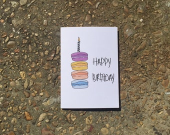 Happy Birthday macaroon card