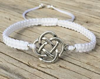 Celtic Knot Bracelet, Celtic Knot Anklet, Adjustable Macrame Cord Bracelet, Celtic Knot Jewelry, Celtic Infinity Knot, Gift for Her