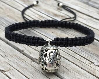 Barrel Religious Bracelet, Religious Anklet, Adjustable Cord Macrame Friendship Bracelet, Filigree Jewelry, Gift for Her, Religious Gift
