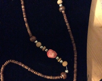 Wood & coral beaded long necklace-