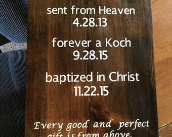 Custom baptism wood sign