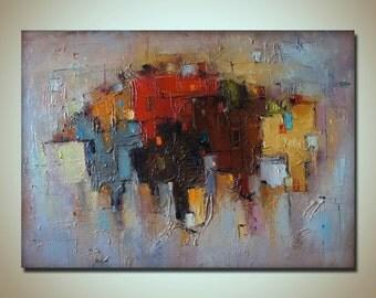 Abstract City Painting, Mixed Media, Heavy Textured Painting, Original Abstract Painting, Contemporary Art, Canvas Wall Decor, Abstract Art