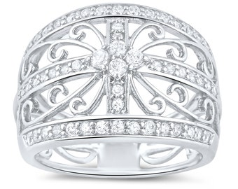 Sterling Silver Filigree Flower Cz Ring (Size 4 - 11)