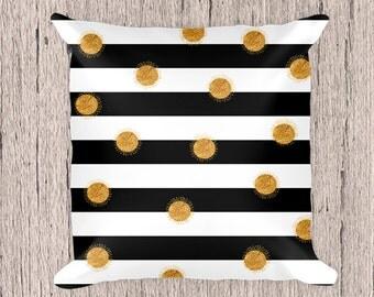 Black and white stripes pillow,Black Pillow,Decorative Pillow, White and black Pillow,  Pillow, Pillow case, Pillow, Black and white stripes