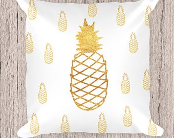 Pineapple Pillow, White and gold Pillow,Decorative Pillow, Gold Pineapple, Gold Pillow, Pillow case, Pillow,  Contemporary pillow, Pillow