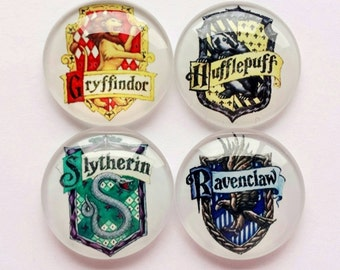 Harry Potter Houses Magnets - House Hufflepuff, Ravenclaw, Slytherin, Gryffindor - Set of 4 Magnets