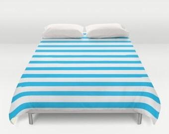 Blue Striped Duvet Cover, Duvet Cover Twin, Boys Bedding, Kids Bedroom Decor, Kids Bedding, Girls Bedroom Decor, Queen Duvet Cover, King