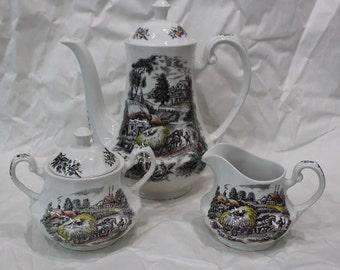 Vintage 3pc Ironstone Yorkshire 4405 Coffee Pot Creamer Sugar Bowl Set