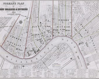 1854 Normans Map of New Orleans Louisiana & Environs