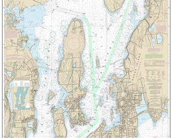 2013 Nautical Map of Narragansett Bay and New Port Harbor Rhode Island