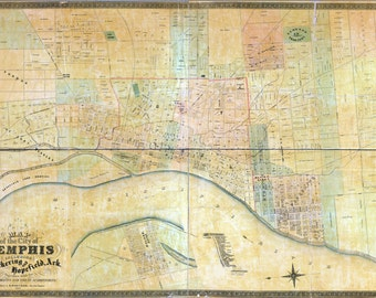 1858 Map of Memphis Tennessee and Fort Pickering