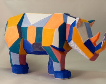 Multicolored geometric Ceramic Rhino