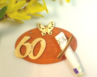 Banknote holder money gift to the 60th birthday original packaged, gift idea for banknote DIY