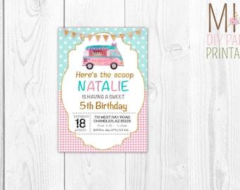 Glitter ice-cream truck,Ice Cream Invitation, Ice Cream Birthday Invitation, Ice Cream Party Invitation,Ice Cream Cone, Party Invite