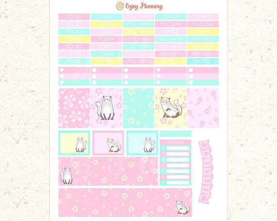 Cute Cat Printable Planner Stickers Cats planner Stickers Weekly ...