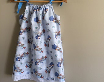 Girls handmade dress or top in Hollie Hobby print on blue gingham
