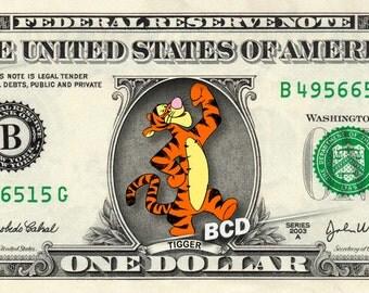 TIGGER Winnie the Pooh on a REAL Dollar Bill Disney Cash Money Collectible Memorabilia