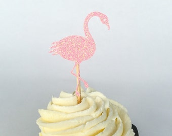 Pink Glitter Flamingo Cupcake Toppers • Bridal Shower Cupcake Topper• Birthday • Baby Shower Cupcake Topper • Food Pick