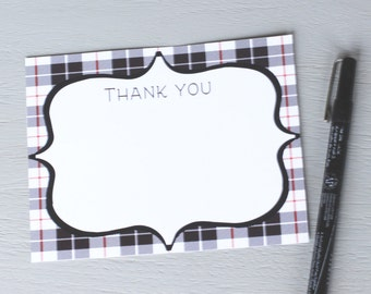 Plaid Thank You Flat Digital Notecard Instant Download PDF A2 White Black Holiday Winter