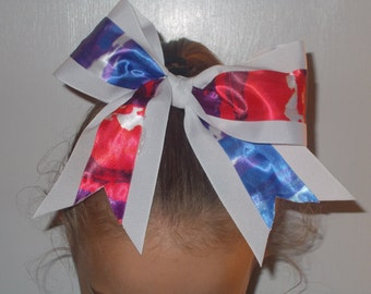 Cheer Bow - Blue and Red Splash Inlays on White Background