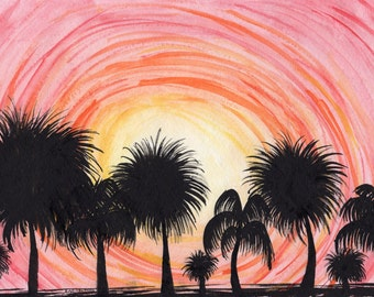 Palm Tree Sunset Swirl / Watercolor painting / Watercolor art / Watercolor artist / Handmade art / Watercolor palm trees / tropical