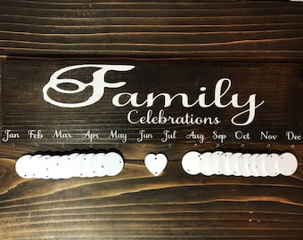 Family Birthday Sign - Family Celebrations Sign - Family Sign - Family Birthday Calendar - Birthday Board - Celebrations Calendar