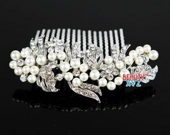 Wedding hair comb, Pearl hair comb, Bridal pearl comb, Rhinestone wedding hair comb, Wedding comb pearl, Bridal hairpiece #4