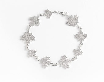 Bracelet 925 sterling silver maple leaves