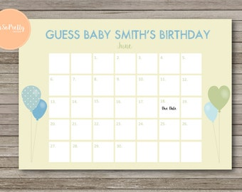 Baby birth date etsy baby shower game guess babies birth date calender personalized printable file balloon negle Gallery