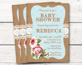 Shabby Chic Baby Shower Invitation Printable Download Baby Boy Blue DESIGN 005