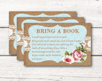 Book Card Shabby Chic Blue Baby Shower match with invitation Printable Invitation DESIGN 005