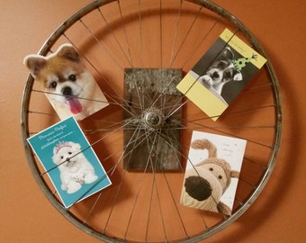 Rustic Reclaimed Bicycle Wheel Wall Photo Display