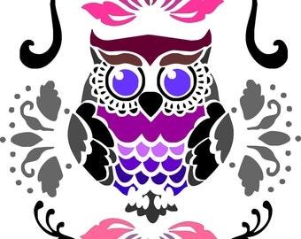 "stencil, stencil ""OWL"" ""owls"" deco charm, child's room."