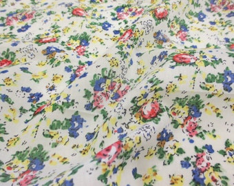 """Ivory """"Tea Party"""" Summer Floral Printed 100% Cotton VOILE Fabric"""