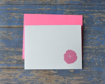4 Pack: Dahlia Embossed Note Cards