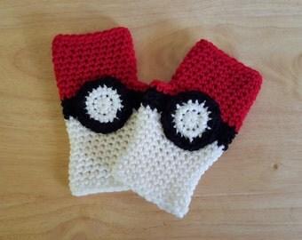 Pokémon ball inspired fingerless gloves