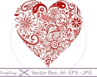 Vector files Heart Floral, EPS files Valentines, Instant download, Floral vector file, vector files AI, Vector Graphics, eps file Heart