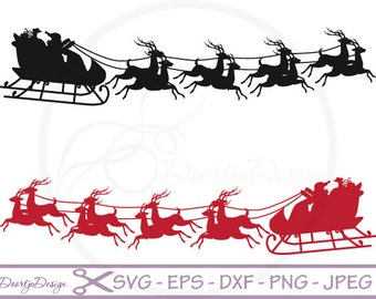 Santa Claus with Reindeers in vector, SVG cut files, scrapbook supplies, Vector Files, Clip Art, SVG files Santa Claus, DXF files