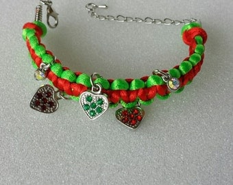 Macrame adjustable charm bracelet