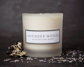 Lavender Sandalwood Scented Soy Candle in Frosted Glass with Gift Box