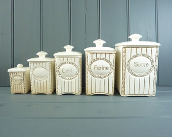 French vintage ceramic storage canisters, set of 5. Antique French kitchen jars.