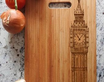 ikb63 Personalized Cutting Board Wood Big Ben London England Landmark Kitchen