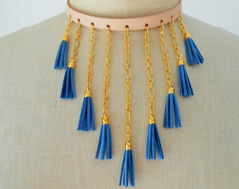 Leather Tassel, Leather Tassel Necklace, Leather Necklace for Women, Leather Jewelry