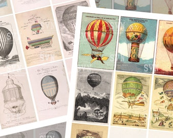 Vintage Air Hot Ballon - 18 different designs - 2 Printable ATC Cards Digital Collage Sheet