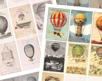 Vintage Air Hot Ballon - 18 different designs - 2 Printable ATC Cards Digital Collage Sheet