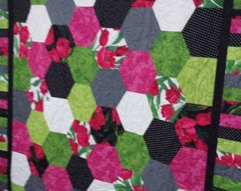 Hand made hexagon quilt