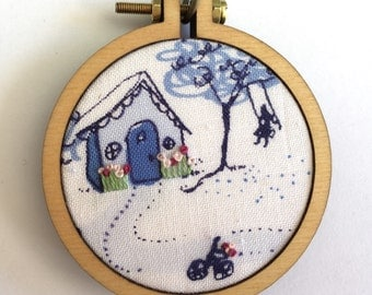 Embroidered Mini Hoop Necklace w/Antique Bronze Chain- Blue Country Home