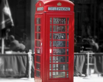 Graffiti Booth: London, England, Red Telephone Box, Telephone Booth, Home Decor, Photography, Wall Art, 8x10 Photo