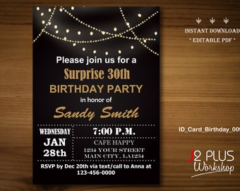 INSTANT DOWNLOAD Birthday Invitation Instant Download, Light Bulb Adult Birthday Invitation Adult, Party Invites Printable, DIY Editable pdf