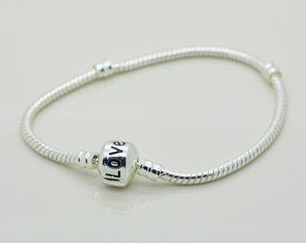Silver European Bracelet, Bracelet With Love Barrel Clasp, Bracelet, Snake Chain Bracelet.